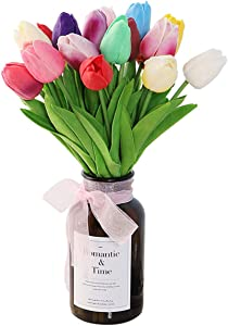 Jyongmer 18 Pcs Multicolor Tulips Artificial Flowers Real Touch Tulips for Spring Wreath Wedding Bouquets Floral Arrangement, Easter Party Decor and Home Room Table Centerpiece