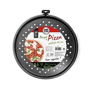 Totally Addict kc2158 placa de pizza perforada acero/revestimiento antiadherente negro 33,80 x 33,80 x 1,60 cm: Amazon.es: Hogar