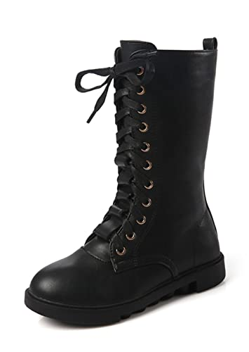 d099ae6e9 YING LAN Kids Girls Boys Leather Round Toe Military Lace Up Mid Calf Combat  Boots Winter