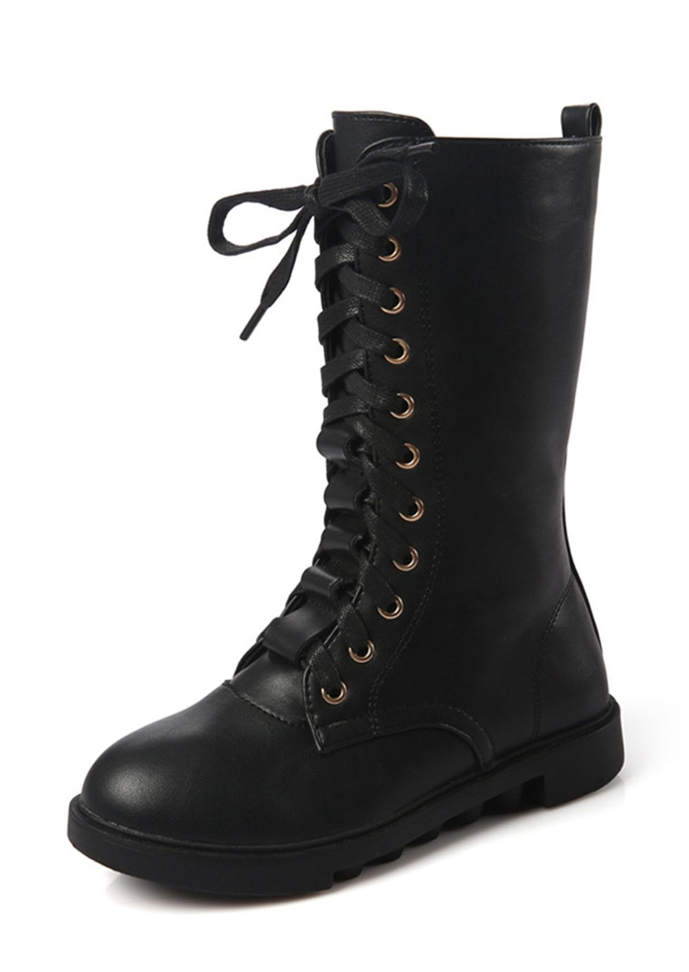 YING LAN Kids Girls Boys Leather Round Toe Military Lace up Mid Calf Combat Boots Winter Warm Snow Boots Black 32