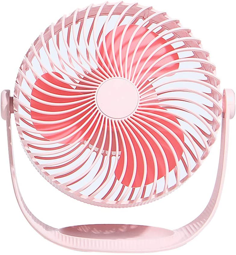Pink Iusun Mini Table Fan 7 Cute 3-Speed Wind Adjustable Small Handheld Personal Portable Desk Stroller Fan with USB Electric Cooling Fan for Office Room Outdoor Household Traveling Camping Gym