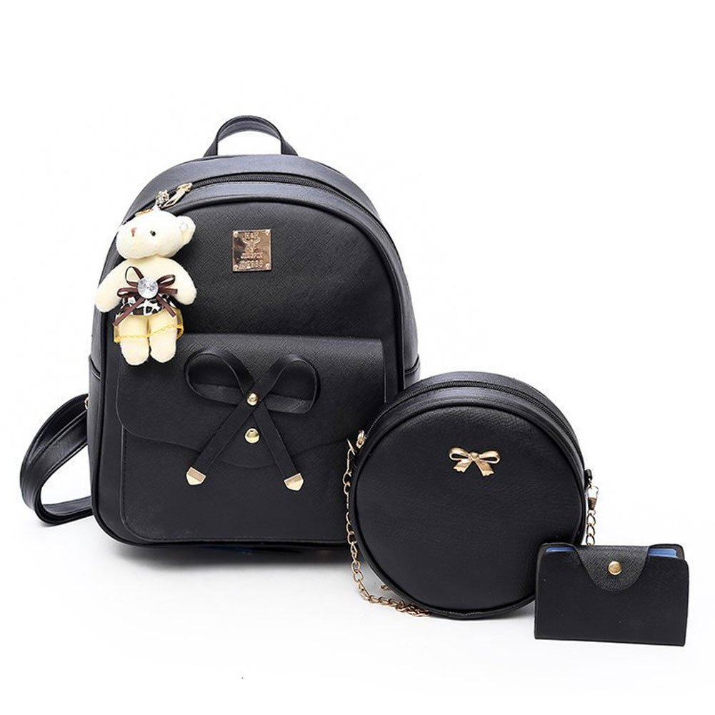 Girls Bowknot 3-Pieces Fahsion Leather Backpack Mini Backpack Purse for Women Black