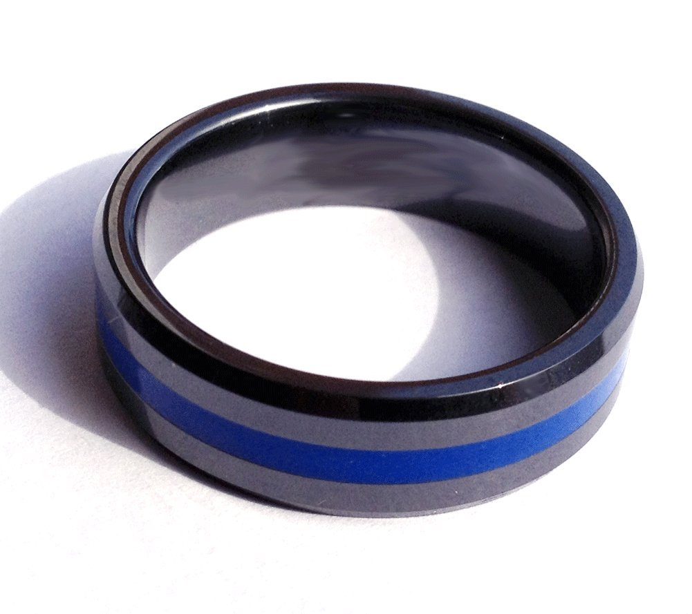 Ceramic Brotherhood Band Blue Band Ring