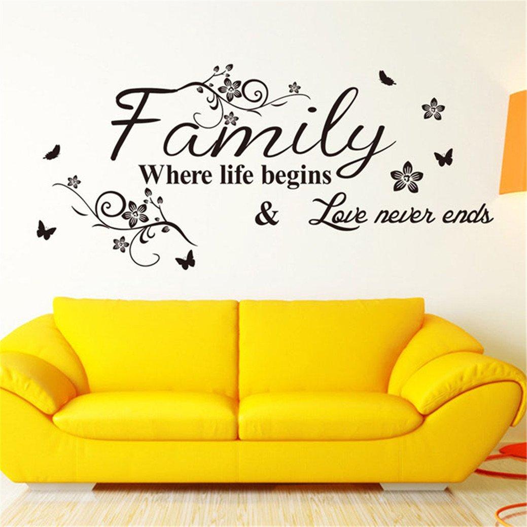 TIFENNY Hot Art Family Beautiful Flower Wall Stickers Home Words Decor Wall Sticker by TIFENNY (Image #1)