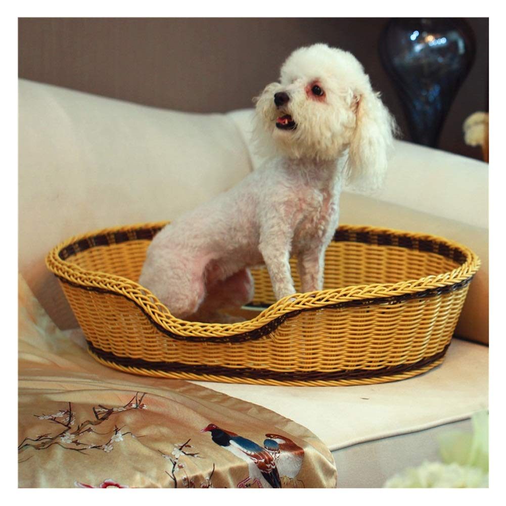 B 60x48cm B 60x48cm Pet beds Dog Pet Nest Imitation Rattan Dog Basket for Indoor & Outdoor Use with Bamboo Cooling Mattress 2 colors 10 Sizes (color   B, Size   60x48cm)