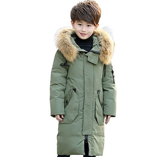 0af4236f3 Amazon.com: LSERVER Kids Boys Long White Duck Down Jacket Thickening Loose  Casual Hooded Boys Winter Coats Parkas: Clothing