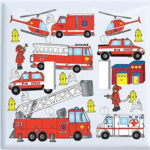 Fire Truck Double Toggle Light Switch Plate Covers/Fire Engines/Firetruck Chidlren's Wall Decor (Double Toggle)