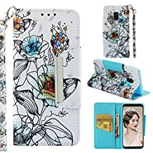 for Samsung Galaxy A8 2018 (A530) Wallet Case with Card Holder,Samsung Galaxy A8 2018 (A530) Leather Phone Cases and Screen Protector,QFFUN Elegant Pattern Design [Lotus] Magnetic Closure Stand Function Shockproof Anti-Scratch Drop Protection Etui Shell Bumper Protective Flip Cover with Lanyard