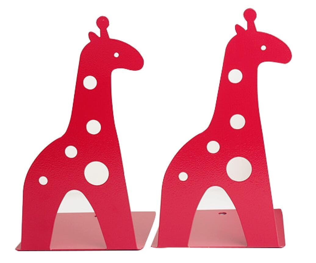 21CM Cute Cartoon Fashion Hollow Giraffe Bookend Kids Book End Nonskid Iron Metal Bookends Library School Office Home Study Book End Gifts (Red) Winterworm