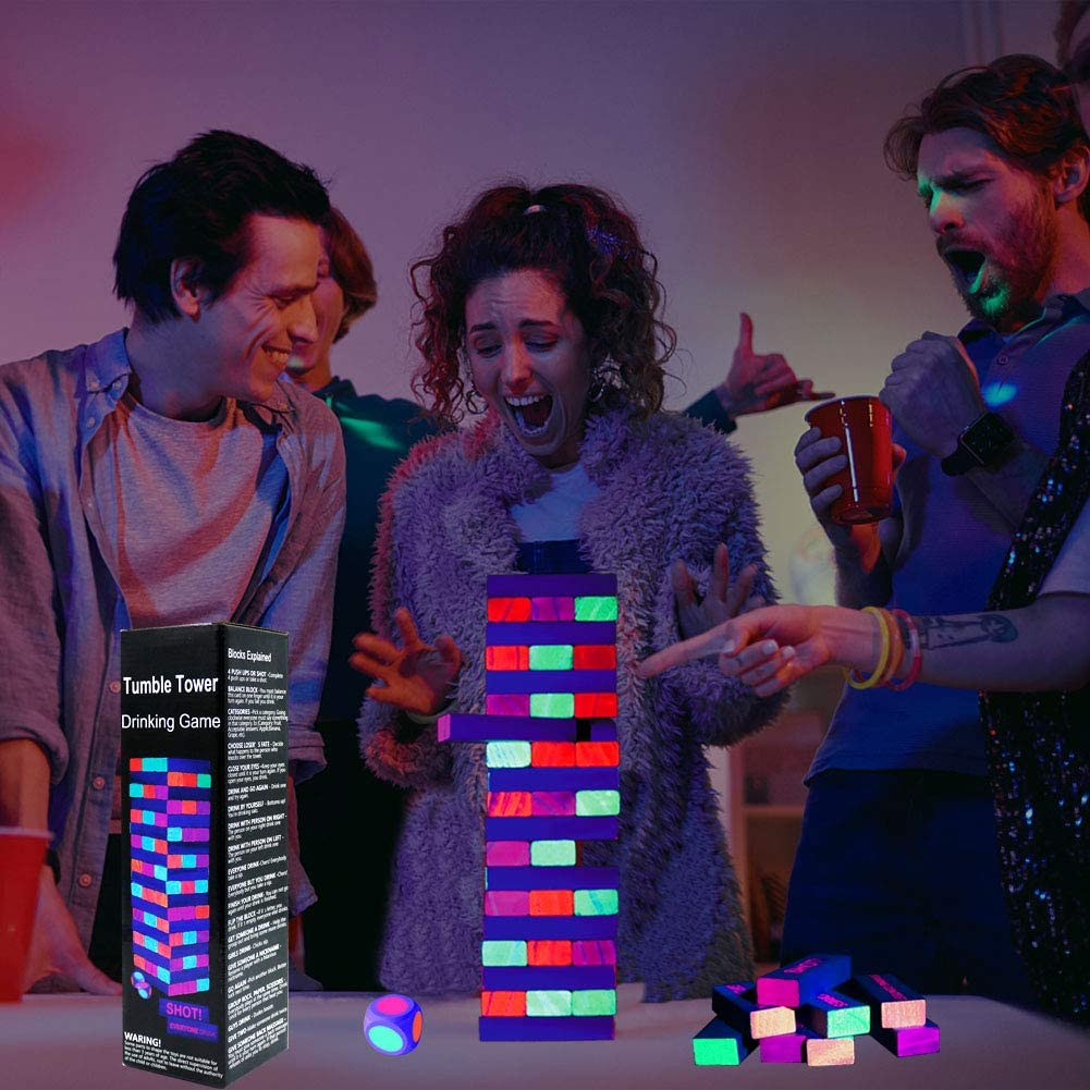 Funny Novelty Present Gift Perfect Pregame Party Starter Six Senses Media Game Night-Black Light Tumble Tower Drinking Game Set 54 Blocks with Hilarious Drinking Commands and Games on 45 of Them