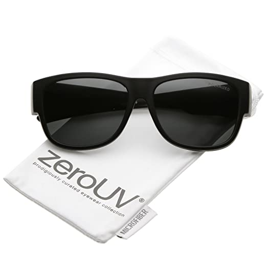 5d770b99840 zeroUV - Thick Frame Wide Arms Square Polarized Lens Horn Rimmed Sunglasses  57mm (Matte Black