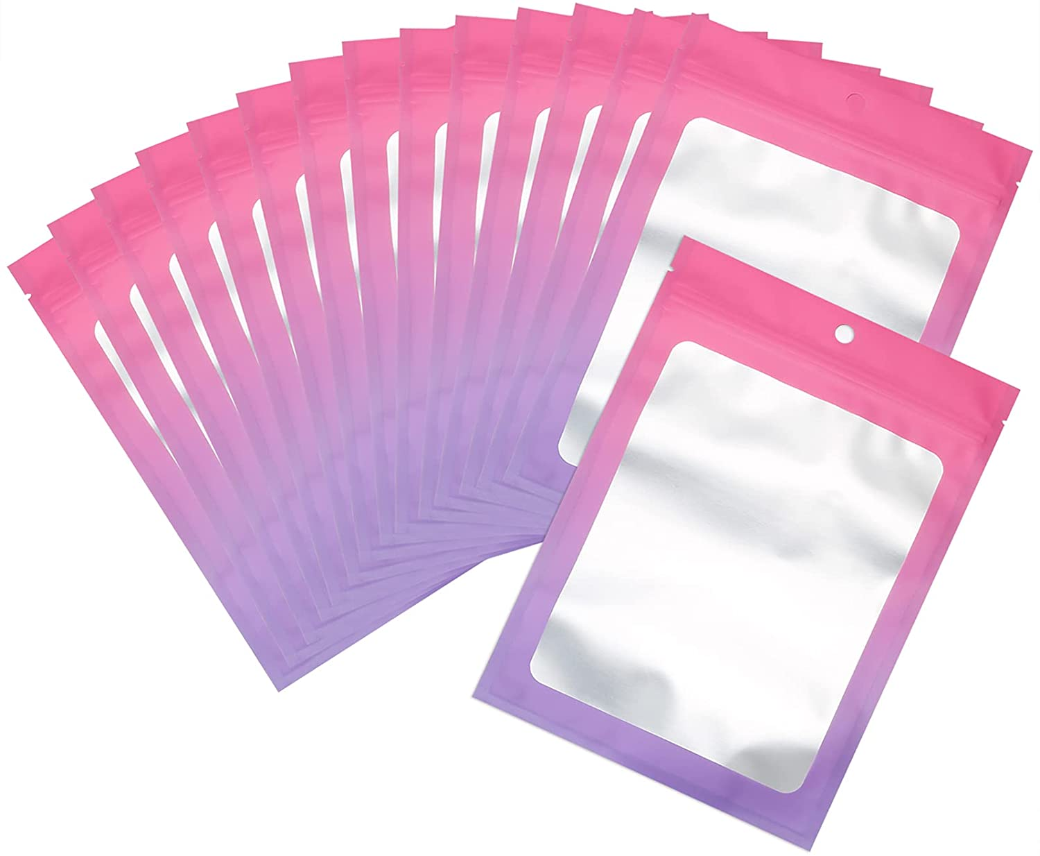 100 Pcs Resealable Mylar Ziplock Food Storage Bags, Gradient Color Smell Proof Bag with Clear Window, Packaging Pouch for Coffee Beans Candy Sample Food (Pink Purple, 2.7 X 3.9 Inch)