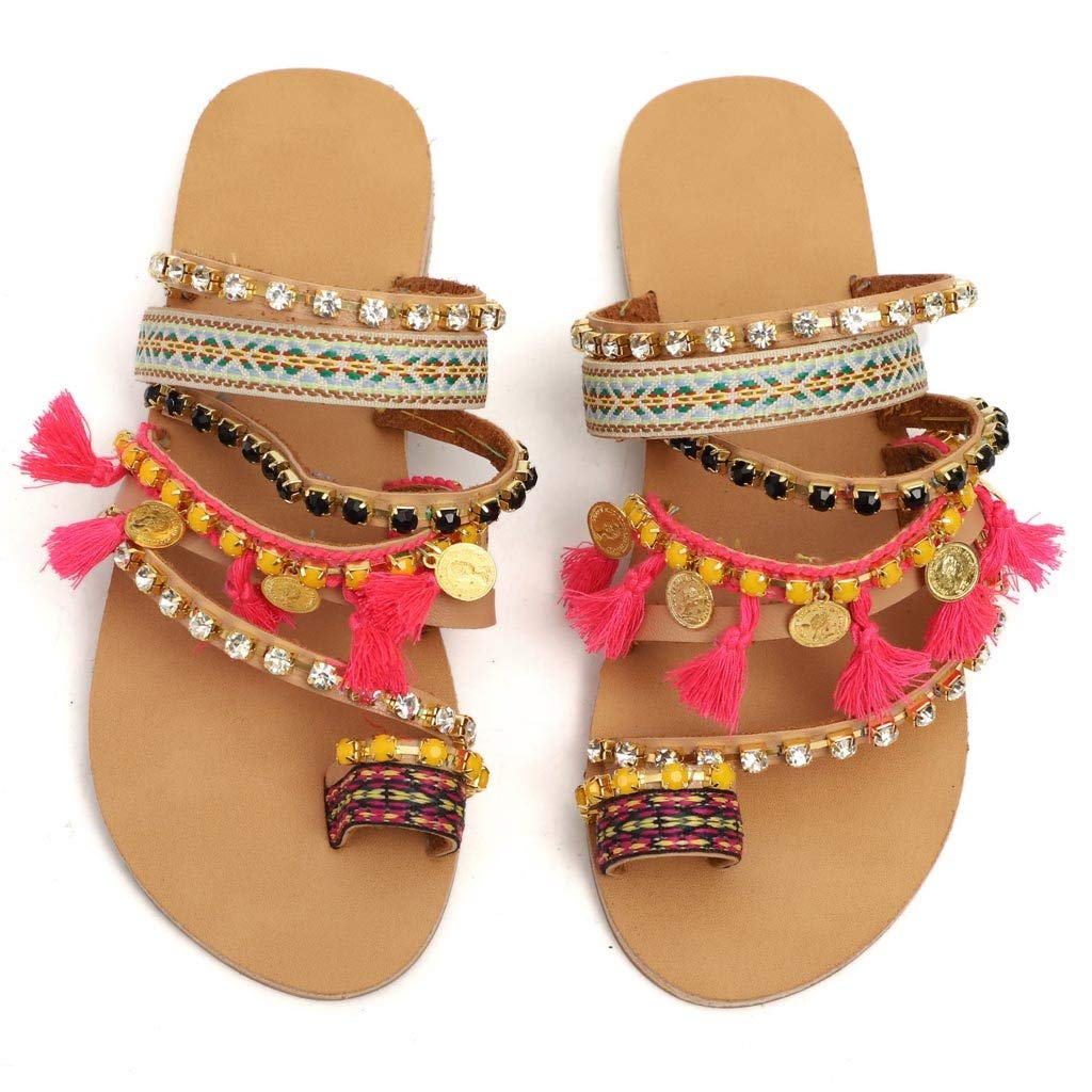 Womens Summer Flat Sandals Bohemian Sandals Large Size National Wind Toe Slippers