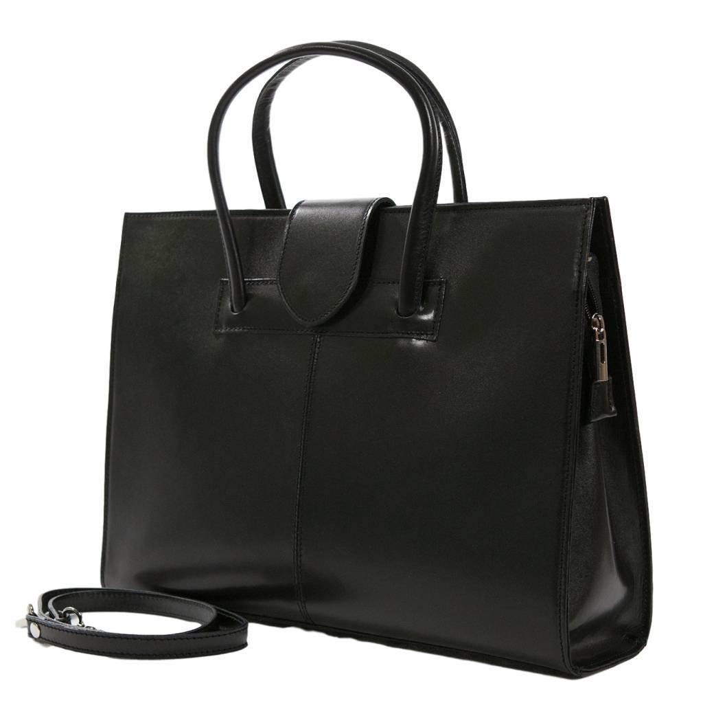Italian Design Leather Business Bag / Briefcase / Laptop bag, Carelli Italia PALERMO black by Carelli Italia