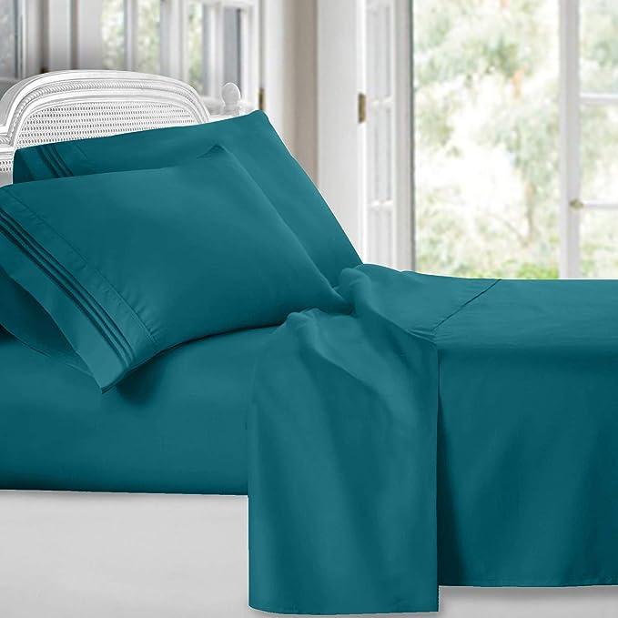 Clara Clark Colección Premier 1800 Lujoso Juego de sábanas de Microfibra Bordado de 3 líneas King Verde Azulado 1 uds por Paquete