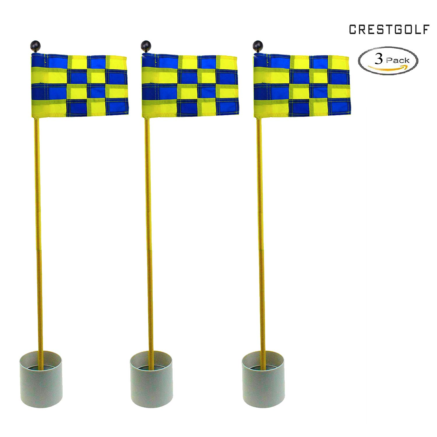 CRESTGOLF 3Sets Backyard Practice Golf Hole Pole Cup Flag Stick, 3 Section,Golf Putting Green Flagstick (blue-yellow plaid)