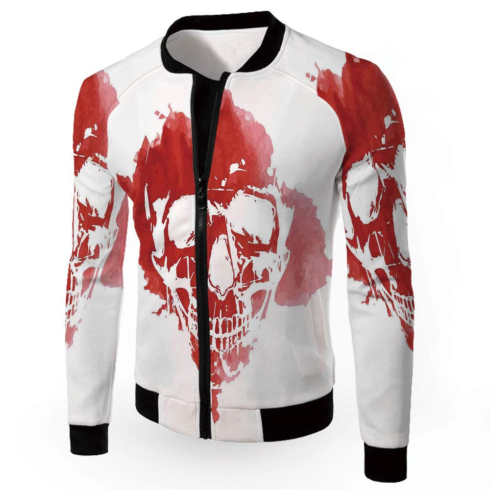 Multi13 XXXLarge iPrint Jackets,Horror House,Zipper Sportswear Patchwork Long Sleeve Coat,Frightening Ha