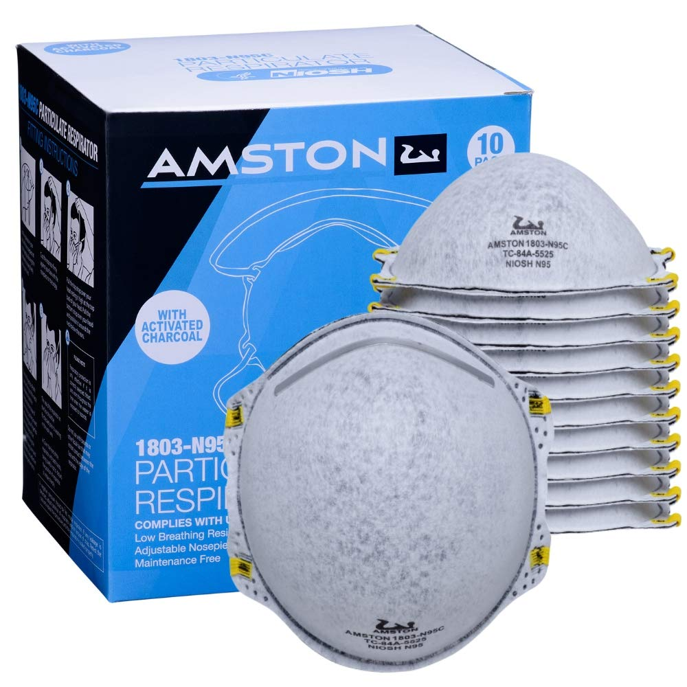 Amston N95VC Disposable Protective Dust Mask Particulate Respirator with Activated Carbon - NIOSH Approved - 1 Pack, 20 Masks Total