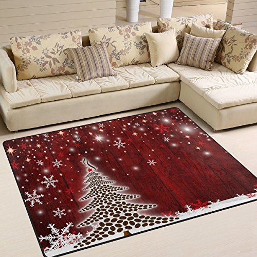 Naanle Winter Holiday Area Rug 5'x7', Christmas Tree Snowflake Polyester Area Rug Mat for Living Dining Dorm Room Bedroom Home -