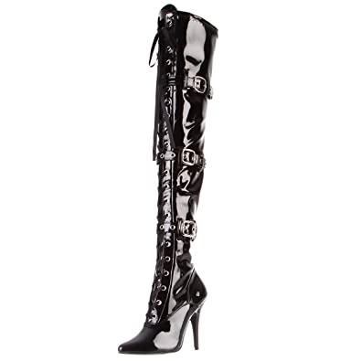 16d1ffab79f Summitfashions Womens Black Patent Boots 5 Inch Heels Lace Up Thigh Highs  Pointed Toe Buckles