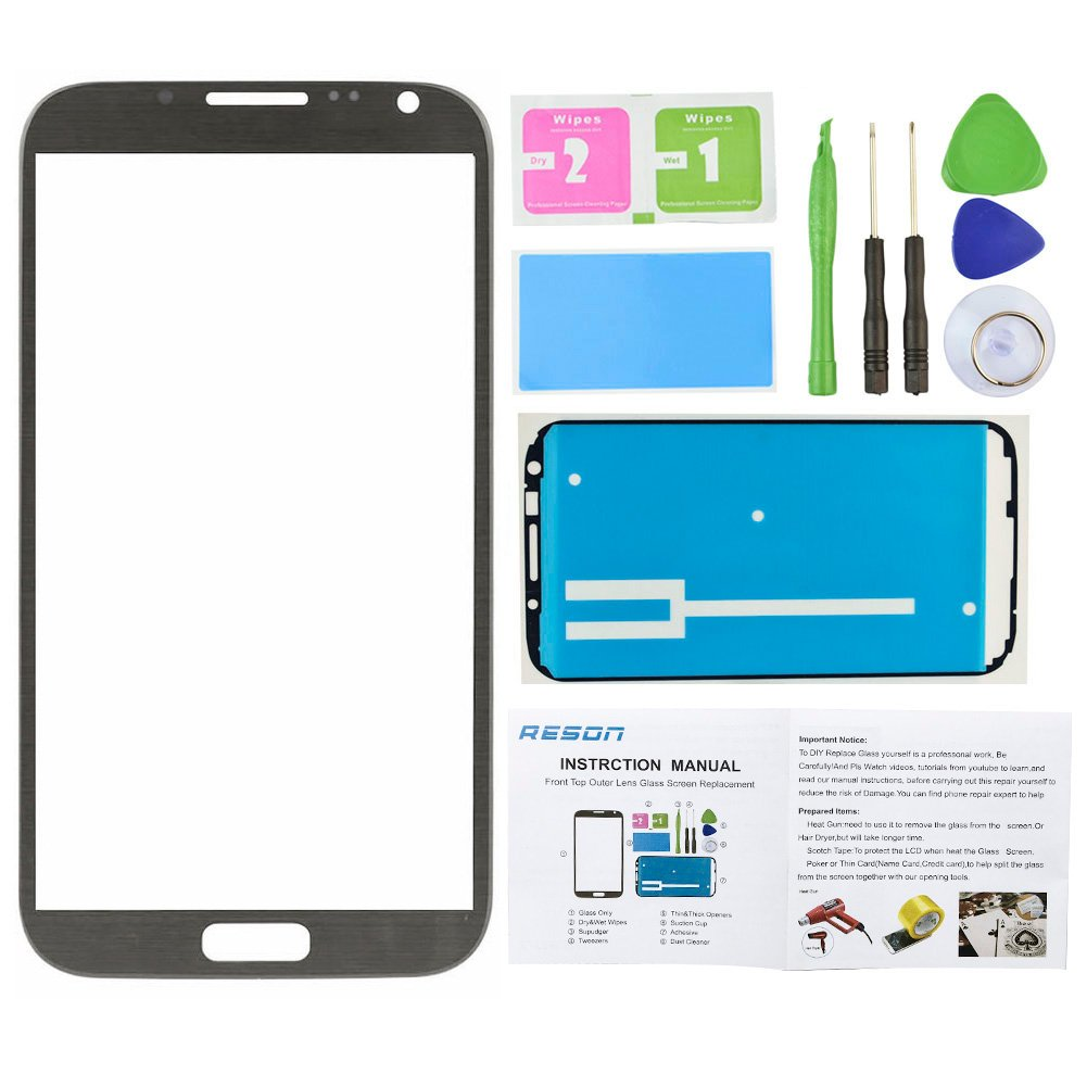 Reson® Titanium Grey Replacement Screen Glass Lens for Samsung Galaxy Note 2 Ii N7100 I317 L900 I605 T889+tools Kit+dry/wet/dust Cleaning Paper+adhesive Sticker Tape