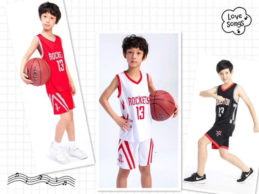 JuneBart Boys Girls Basketball Clothes-Summer Basketball T-Shirt Nab Houston Rockets 13# Harden Fan Edition Jersey Classic Sleeveless Top/&Shorts