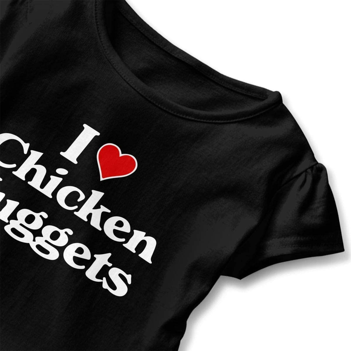 Toddler Baby Girl I Love Chicken Nuggets Funny Short Sleeve Cotton T Shirts Basic Tops Tee Clothes