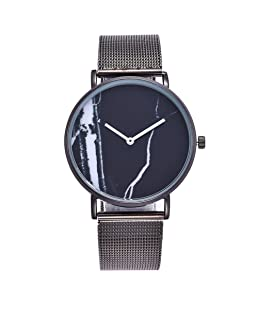 Loweryeah Stainless Steel Quartz Watch Personality Porcelain Surface Steel Plate Table