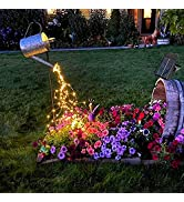 Solar 10 Strands 200 LEDs String Fairy Lights, Starry Copper String Lighting, Waterproof Watering...