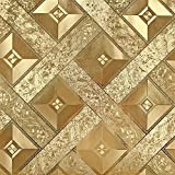 HANMERO Luxury Gold Foil Mosaic Square Lattice Background Flicker Wallpaper Gold Leaf Wallpaper Modern Hotel Ceiling Decorative Wallpaper Roll Gold Yellow Color