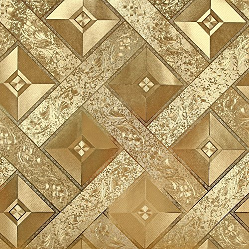 HANMERO Luxury Gold Foil Mosaic Square Lattice Background Flicker Wallpaper Gold Leaf Wallpaper Modern Hotel Ceiling Decorative Wallpaper Roll Gold Yellow Color by HANMERO (Image #1)