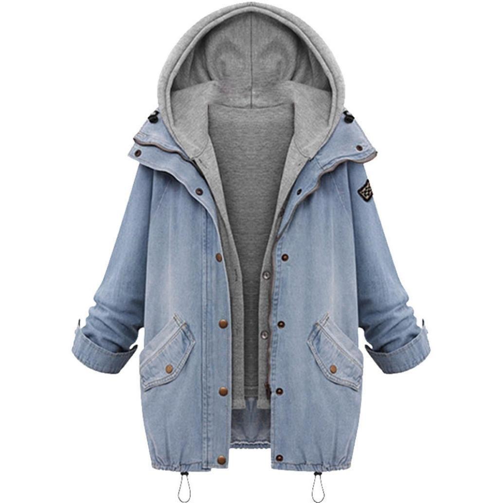 Women Denim Jacket with Hood,WuyiMC Women's Plus Size 2 Piece Jean Button Jackets Coat Tops (Blue, 4XL)