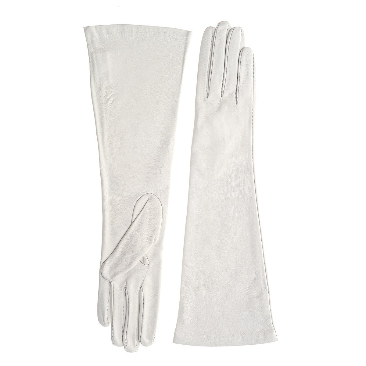 Silk Lined Long Black or White Leather Gloves (WHITE-SMALL)