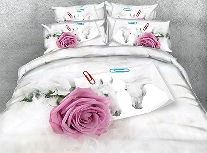 Amazon.com: SEIAOING 3D Pink Rose Animal Horse Photo Duvet ...