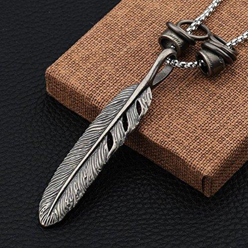 Generic Goofan_ Japan Korea _hip-hop_ fashion ring long feather necklace Pendant steel man boy ornaments women girl long _section_STN644 by Generic