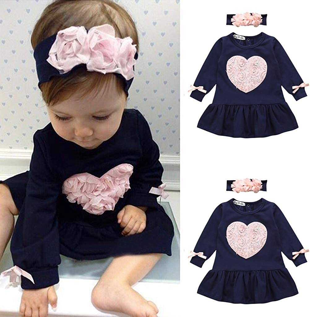 kaiCran Adorable Toddler Baby Girls Long Sleeve Floral Heart Princess Dresses Outfits Set Clothes with Headband