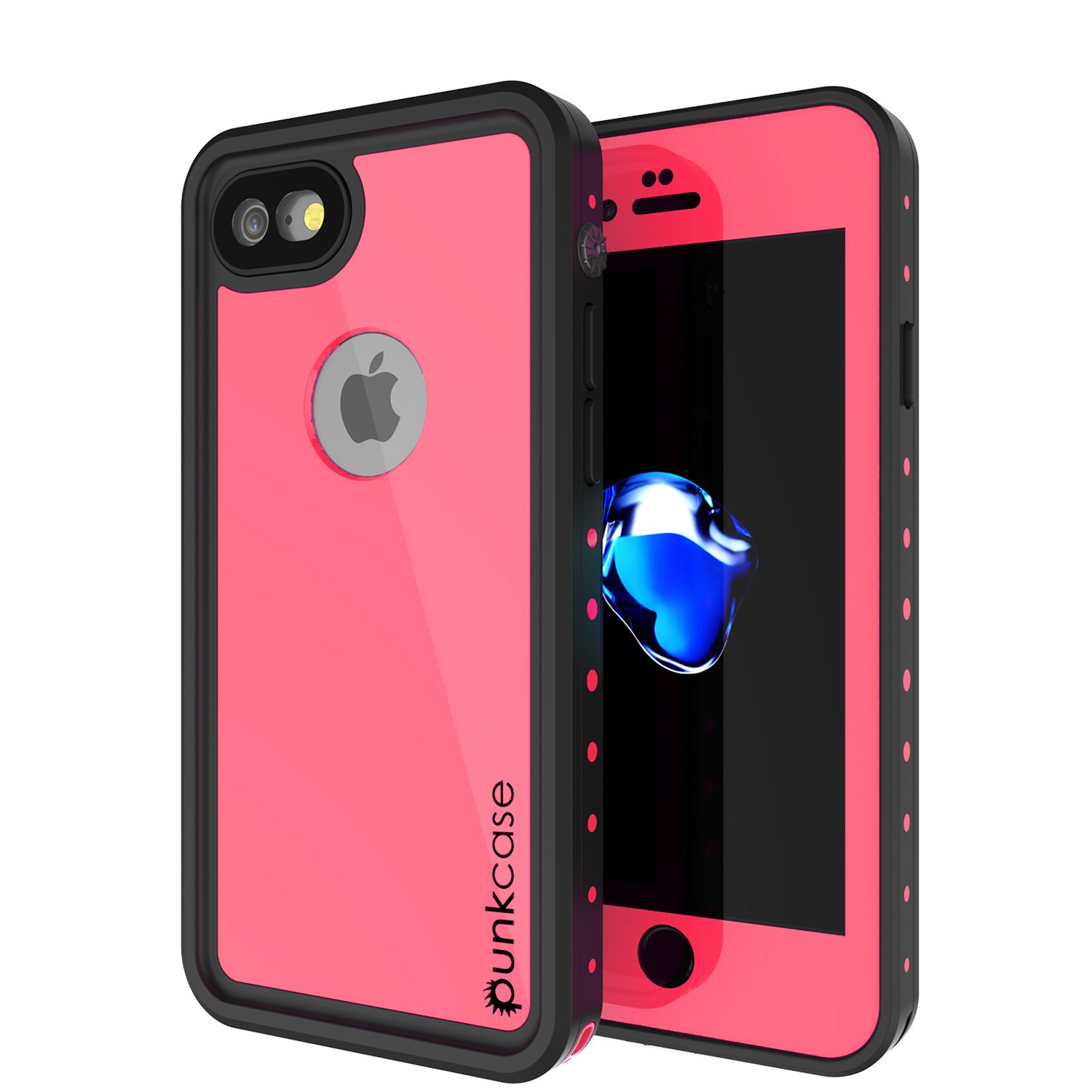 iPhone 8 Waterproof Case, Punkcase [StudStar Series] [Slim Fit] [IP68 Certified] [Shockproof] [Dirtproof] [Snowproof] Universal Armor Cover for Apple iPhone 7 & 8 [Pink]