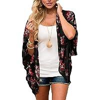 Donnalla Women's Floral Print Kimono Cardigan Cover Ups Short Sleeve Loose Long Tops Beach Cover Up
