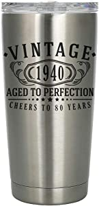 Vintage 1940 Etched 20oz Stainless Steel Insulated Vacuum Sealed Tumbler - 80th Birthday Aged to Perfection - 80 years old gifts