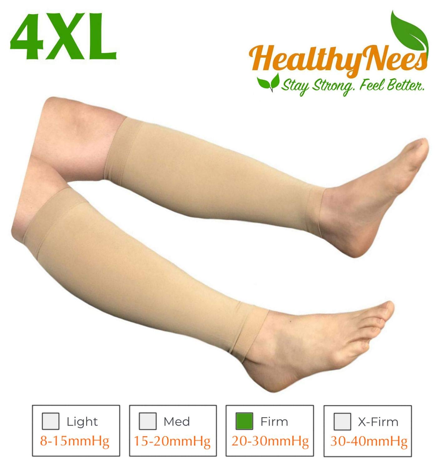HealthyNees Shin Calf Sleeve 20-30 mmHg Medical Compression Circulation Extra Wide Plus Size Big Tall Leg Thick Calves Firm Support (Beige, Wide Calf 4XL) by HealthyNees