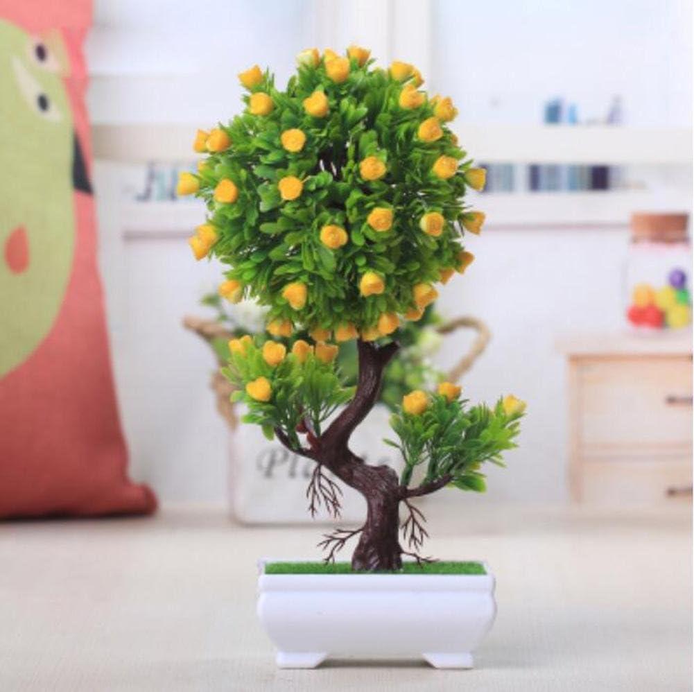 2018decorativa Flores Simulación Artificial Planta Flor árbol verde Algodón olla (mucho color) Salón Mesa plástico Flores. Lucky Feng Shui Decoración (Multi de color), a