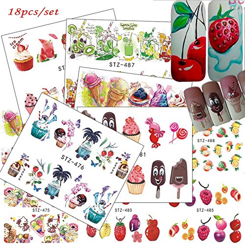 JaneDream 18pcs Mixed Set Ice Cream Fruit Cake Cute Nail Art Water Transfer Sticker Manicure Decal DIY Deco