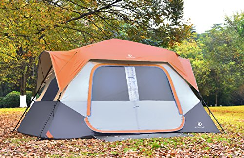 ALPHA CAMP 8 Person Instant Cabin Tent Camping/Traveling Family Tent Lightweight Rainfly With Mud Mat - 12' x 9' Orange/Grey