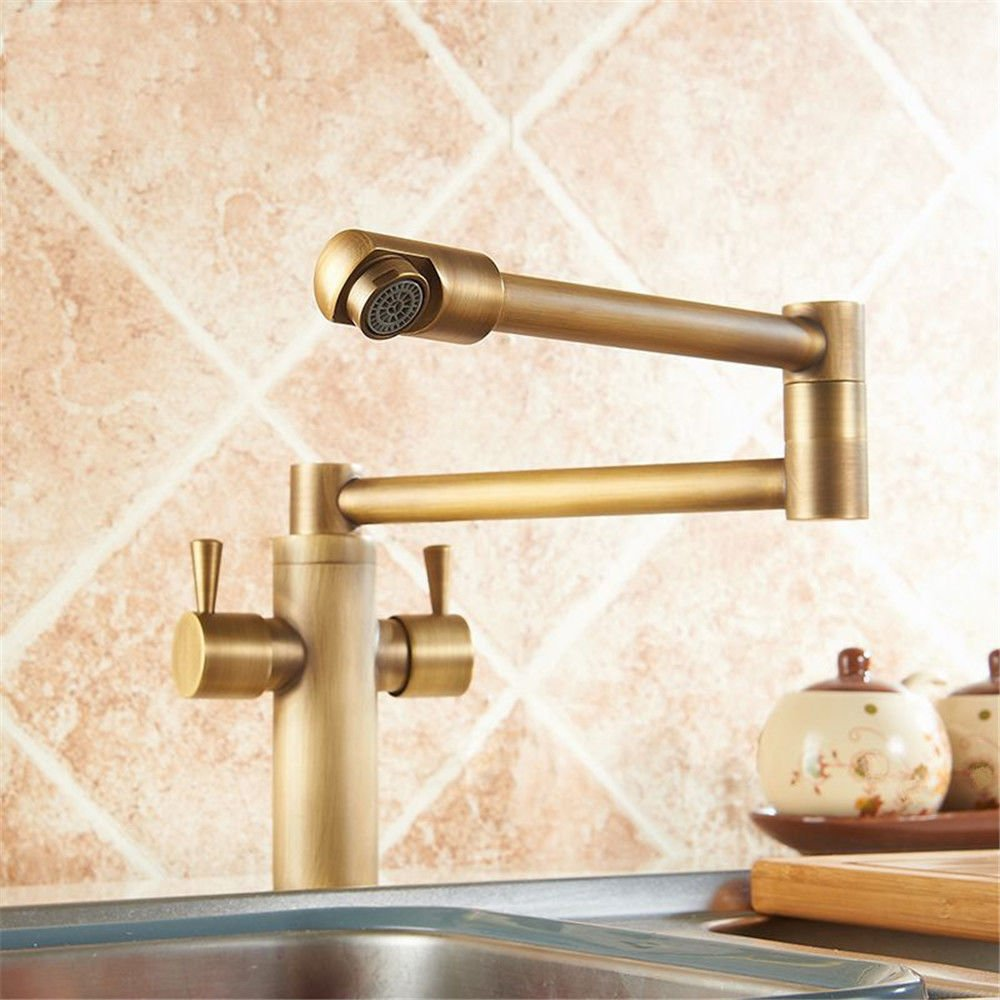 Commercial Single Lever Pull Down Kitchen Sink Faucet Brass Constructed Polished European Kitchen Faucet Antique Copper Folding Telescopic Hot and Cold Sink Sink Faucet 360 redation