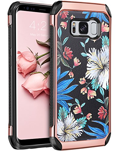 Galaxy S8 Case, BENTOBEN Shockproof Anti-scratch 2 in 1 Hybrid Hard PC TPU Bumper Floral Pattern Chrome Protective Case for Samsung Galaxy S8 (5.8 inch), Rose Gold