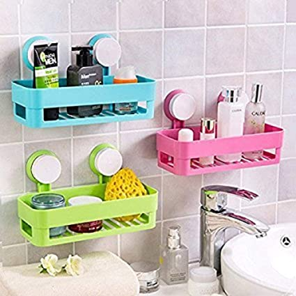 Styleys Bathroom Shelves Suction Shelf Suction Rack Plastic Plastic Compact Basket for Office, Kitchen, Home, Bathroom and Multiple Use (1)