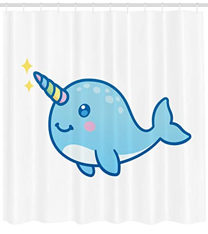 Image of: Cartoon Drawing Ambesonne Narwhal Shower Curtain Cartoon Drawing Style Whale With Rainbow Horn Unicorn Of The Ocean Amazoncom Amazoncom Ambesonne Narwhal Shower Curtain Cartoon Drawing Style