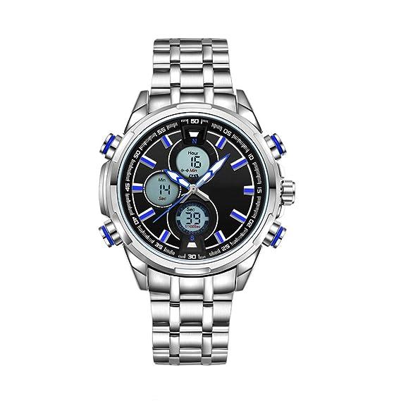 manecillas Reloj de hombre digital analógico de cuarzo reloj Fecha Luz Reloj de pulsera plata acero inoxidable con manecillas Azul W396: Amazon.es: Relojes
