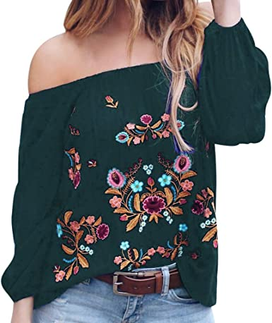 aihihe Womens Summer Floral Printed Off The Shoulder Tops Plus Size Long Sleeve Tie Knot T-Shirt Blouses Tunic