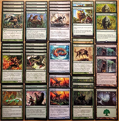 Magic the Gathering Modern Legal Green Infect Custom Magic Deck by Dan of the Many